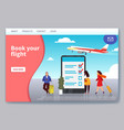flight travelling landing mobile app web page vector image vector image