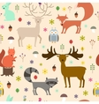 Forest animals seamless background Flat style vector image vector image