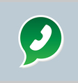 Green phone handset in speech bubble icon vector image