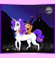 halloween of cute witch sitting on unicorn on vector image vector image