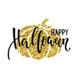 happy halloween with gold pumpkin silhouette hand vector image