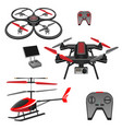 helicopter and quadrocopter quadcopter with vector image vector image