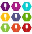 ice cream icon set color hexahedron vector image vector image