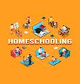 isometric family homeschooling flowchart vector image vector image