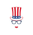 portrait of patriotic girl in glasses vector image vector image