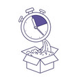purple line contour of cardboard box and stopwatch vector image vector image