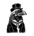 raven gentlemen dressed in suit tie vector image