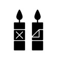remove candle packaging before use black glyph vector image