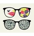 Retro sunglasses with small bird reflection vector image