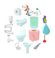 sanitary engineering cartoon icons vector image vector image
