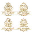 set golden anniversary vintage emblems for ten vector image vector image