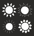 set hand drawn sun isolated on black background vector image