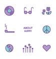 Set of flat line hippy icons Modern pictograms vector image vector image