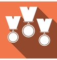 Set of medal icons with long shadow vector image