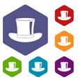 silk hat icons set hexagon vector image vector image