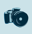 slr camera logo in blue tones on a light vector image