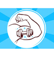 strong man hand with icon of dumbbell on vector image vector image
