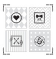 trendy kids gray patterns with black emblems set vector image