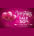 valentines day sale design with red heart balloon vector image vector image