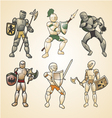 Vintage medieval warriors vector image