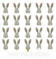 Set of Hare faces vector image