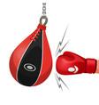 boxing glove hits punching bag vector image