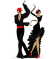 abstract flamenco couple in black vector image
