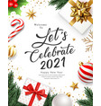 2021 lets celebrate happy new year gift box vector image vector image