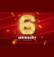 6 golden glitter numbers and anniversary
