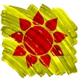Abstract artistic painted sun on yellow background vector image