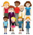 Adult and children with happy face vector image vector image