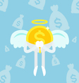 angel coin business man sky vector image vector image