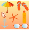 Beach set items for a beach holiday vector image vector image