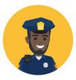 black police officer with radio set on shoulder vector image