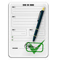 blank form with signature and pen vector image vector image