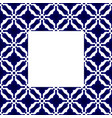blue and white ceramic frame vector image vector image