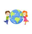 boy girl hug earth planet flat character vector image vector image