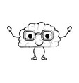 brain cartoon with glasses and calm expression in vector image vector image