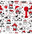 bull christmas 2021 white seamless pattern vector image vector image
