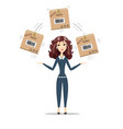 business woman holding box vector image vector image