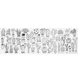 cactus in pots doodle set vector image