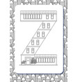 cartoon letter z drawn in the shape of house vector image