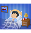 Cartoon smile little boy sleeping in the bed vector image vector image