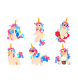 cartoon unicorns cute magic unicorn set fantasy vector image vector image