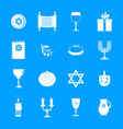 chanukah jewish holiday icons set simple style vector image