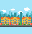 city with three cartoon buildings vector image