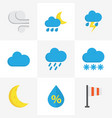 climate flat icons set collection of shower drop