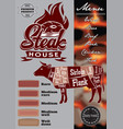 color menu template for steak house vector image