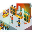 concert scene isometric rock band singing people vector image vector image