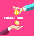 corruption symbol flat design with two hands and vector image vector image
